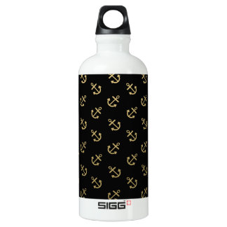 Gold Anchors Black Background Pattern Water Bottle
