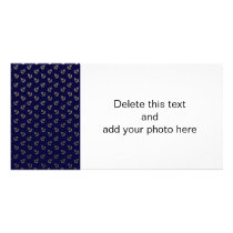 Gold Anchors Navy Blue Background Pattern Card