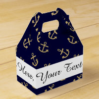 Gold Anchors Navy Blue Background Pattern Favor Box