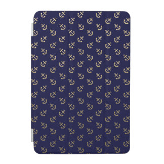 Gold Anchors Navy Blue Background Pattern iPad Mini Cover