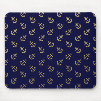 Gold Anchors Navy Blue Background Pattern Mouse Pad