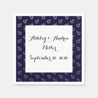 Gold Anchors Navy Blue Background Pattern Disposable Napkins
