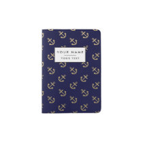 Gold Anchors Navy Blue Background Pattern Passport Holder