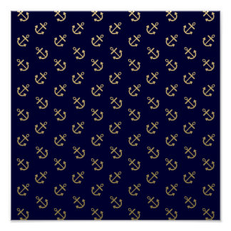 Gold Anchors Navy Blue Background Pattern Poster