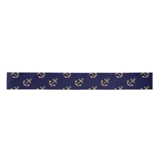 Gold Anchors Navy Blue Background Pattern Satin Ribbon