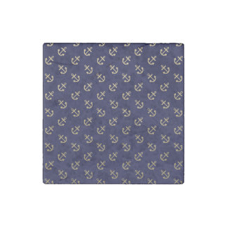 Gold Anchors Navy Blue Background Pattern Stone Magnet