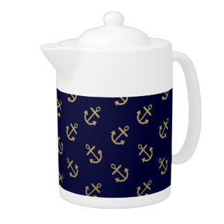 Gold Anchors Navy Blue Background Pattern