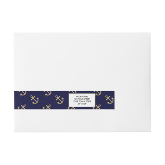 Gold Anchors Navy Blue Background Pattern Wrap Around Address Label