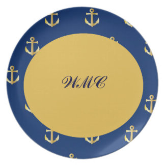Gold Anchors,On Blue Background Dinner Plate