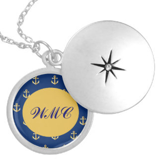 Gold Anchors,On Blue Background Round Locket Necklace
