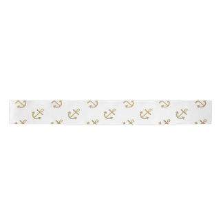 Gold Anchors White Background Pattern Blank Ribbon