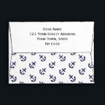 """Gold Anchors White Background Pattern Envelope<br><div class=""""desc"""">Preppy, nautical, navy blue anchors pattern printed on a white solid color background. GraphicsByMimi &#169;. Use to create your own one of a kind gift for you or your friends and family by personalizing it with your name, monogram, text or photo or leave as. Other colors and styles available in...</div>"""
