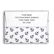Gold Anchors White Background Pattern Envelope