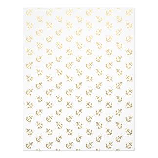Gold Anchors White Background Pattern Custom Flyer