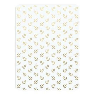 Gold Anchors White Background Pattern Custom Invitation