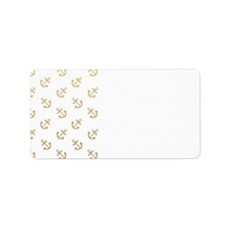 Gold Anchors White Background Pattern Label