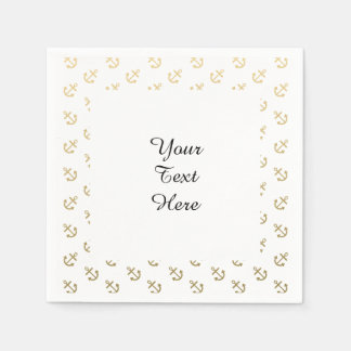 Gold Anchors White Background Pattern Paper Napkins
