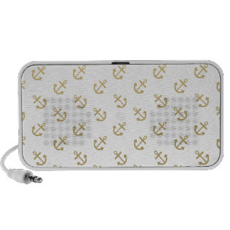 Gold Anchors White Background Pattern Travelling Speaker
