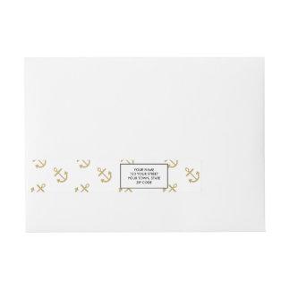 Gold Anchors White Background Pattern Wrap Around Address Label