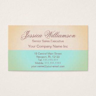 Gold and Aqua Elegant Contemporary Lady's Chic Business Card