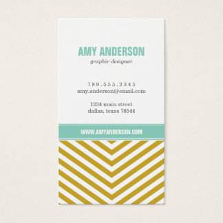 Gold and Aqua Modern Chevron Stripes Business Card