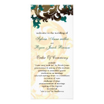 gold and aqua Wedding program