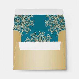 Gold and Aquamarine Indian Style Envelope