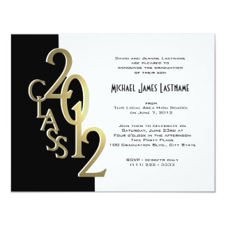 Gold and Black 2012 Graduation Invitation