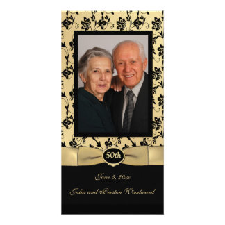 Gold and Black 50 Year Anniversary Photo Card