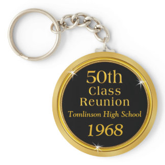 Gold and Black 50th Class Reunion Gift Ideas Keychain