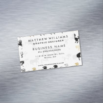 Gold and Black and White Marble Modern Horses Magnetic Business Card
