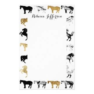 Gold and Black and White Marble Modern Horses Stationery