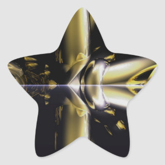 Gold and Black Armour Brass Rings Fractal Gifts Star Sticker
