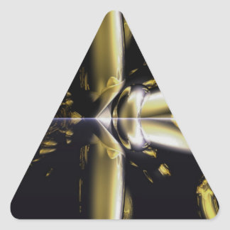 Gold and Black Armour Brass Rings Fractal Gifts Triangle Sticker