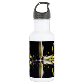 Gold and Black Armour Brass Rings Fractal Water Bottle