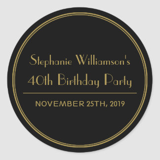 Gold and Black Art Deco Birthday Party Seals
