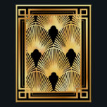 """Gold and Black Art Deco Fan Design Poster<br><div class=""""desc"""">I absolutely adore this fan design. It's so Art Deco. I had the pattern and have colored it in black and gold and then added a frame to make this poster. This poster comes in many sizes (see side menu) It could be made into a print and framed or used...</div>"""