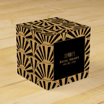 Gold and Black Art Deco Fan Flowers Bridal Shower Favor Box