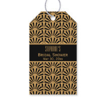 Gold and Black Art Deco Fan Flowers Bridal Shower Gift Tags