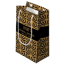 Gold and Black Art Deco Fan Flowers Bridal Shower Small Gift Bag