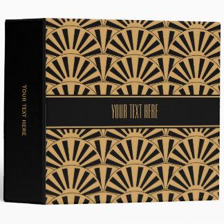 Gold and Black Art Deco Fan Flowers Motif Binder