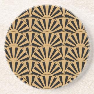 Gold and Black Art Deco Fan Flowers Motif Drink Coaster