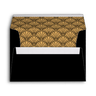 Gold and Black Art Deco Fan Flowers Motif Envelope