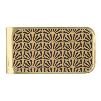 Gold and Black Art Deco Fan Flowers Motif Gold Finish Money Clip
