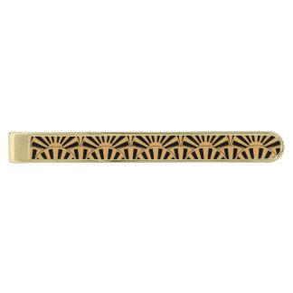 Gold and Black Art Deco Fan Flowers Motif Gold Finish Tie Clip