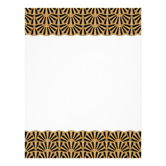 Gold and Black Art Deco Fan Flowers Motif Letterhead