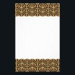 "Gold and Black Art Deco Fan Flowers Motif Stationery<br><div class=""desc"">Gold and black art deco fan flowers patterned stationery. The design features a repeating fan flowers pattern in gold and black. 1920&#39;s Gatsby style motif.</div>"