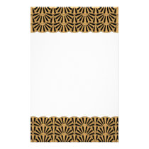 Gold and Black Art Deco Fan Flowers Motif Stationery
