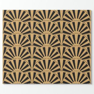 Gold and Black Art Deco Fan Flowers Motif Wrapping Paper