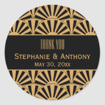 Gold and Black Art Deco Fan Flowers Wedding Classic Round Sticker